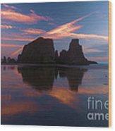 Bandon Beach Skies Wood Print