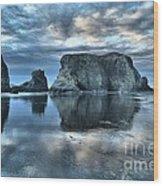 Bandon Beach Sunset Reflections Wood Print