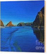 Bandon Blue And Gold Wood Print by Adam Jewell