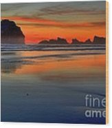Bandon Foggy Fire Wood Print