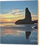 Bandon Oregon Sunset Wood Print by Adam Jewell