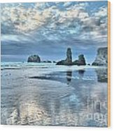 Bandon Sea Stack Reflections Wood Print