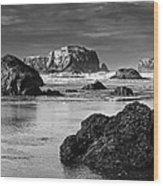 Bandon Sea Stacks Black And White Wood Print