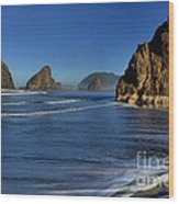 Bandon Sea Stacks In The Surf Wood Print by Adam Jewell