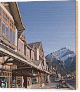 Banffs Main Street Banff Avenue At Dawn Wood Print