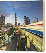 Bangkok Sky Train Rush Wood Print