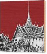 Bangkok Thailand Skyline Grand Palace - Dark Red Wood Print