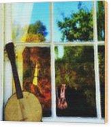 Banjo Mandolin In The Window Wood Print