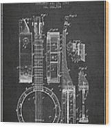Banjo Patent Drawing From 1882 Dark Wood Print