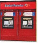 Bank Of America Automated Teller Machine - Painterly - 5d20737 Wood Print
