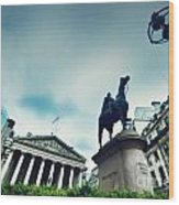 Bank Of England The Royal Exchange And The Wellington Statue Londonuk Wood Print