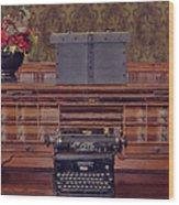 Bank - Secretary Wood Print by Liane Wright