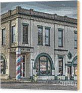 Bank To Barbershop Wood Print by MJ Olsen