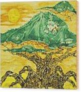 Banyan And Two Suns Wood Print