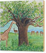 Baobab And Giraffe Wood Print