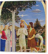 Baptism Of Christ - Oil On Canvas Wood Print