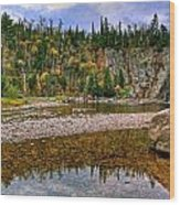 Baptism River Reflection Wood Print