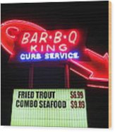 Bar B Q King In Charlotte N C Wood Print by Randall Weidner