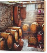 Bar - Wine - The Wine Cellar  Wood Print by Mike Savad
