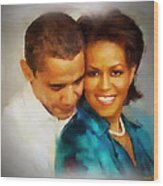 Barack And Michelle Wood Print by Wayne Pascall