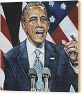 Barack Obama  Wood Print by Michael  Pattison
