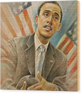 Barack Obama Taking It Easy Wood Print