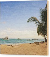 Barbados Beach Wood Print