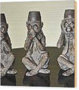Barbary Macaques Monkeys Wood Print