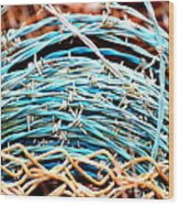 Barbed Blue Wood Print