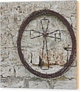 Barbed Wire Cross Wood Print