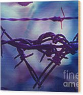 Barbed Wire Love Series The Blues 2 Wood Print