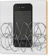 Barbed Wire Protected Smartphone Wood Print by Allan Swart