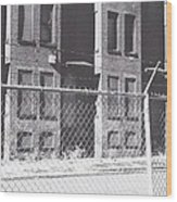 Barbed Wire Rowhouses Wood Print