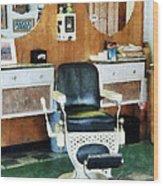 Barber - Barber Shop One Chair Wood Print