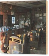 Barber - Barber Shop With Sun Streaming Through Window Wood Print