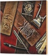 Barber - Barber Tools Of The Trade Wood Print by Paul Ward