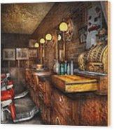 Barber - Closed On Sundays Wood Print by Mike Savad