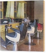 Barber - Small Town Barber Shop Wood Print