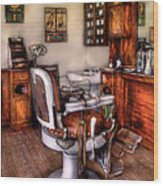 Barber - The Barber Chair Wood Print