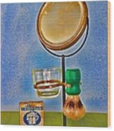 Barber - The Shaving Mirror Wood Print