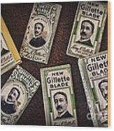 Barber - Vintage Gillette Razor Blades Wood Print