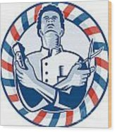 Barber With Pole Hair Clipper And Scissors Retro Wood Print