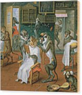 Barbers Shop With Monkeys And Cats Oil On Copper Wood Print