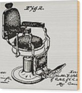 Barbershop Chair Patent Wood Print