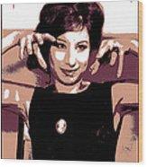 Barbra Streisand - Brown Pop Art Wood Print