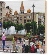 Barcelona - Abstract - Plaza De Catalunia Wood Print