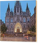 Barcelona Cathedral In The Evening Wood Print