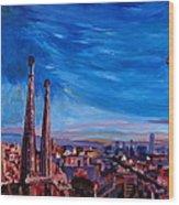 Barcelona City View And Sagrada Familia Wood Print