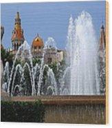 Barcelona Fountain Placa De Catalunya Wood Print