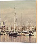 Barcelona Harbor - Vertical Wood Print